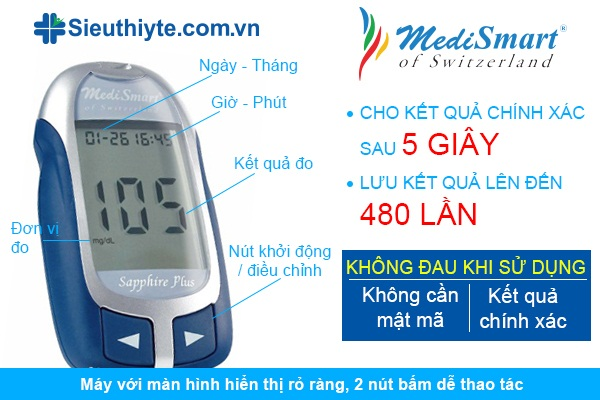 may do duong huyet Medismart Sapphire Plus